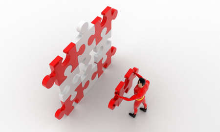 put: 3d superhero  put last piece of puzzle on puzzle concept on white background, top  angle view Stock Photo