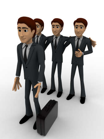 select: 3d men team select person for work concept on white background, front angle view