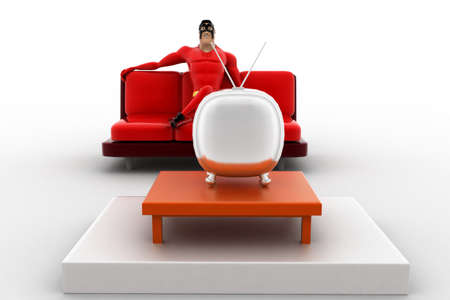 watching 3d: 3d superhero  watching tv concept on white background, front angle view Stock Photo