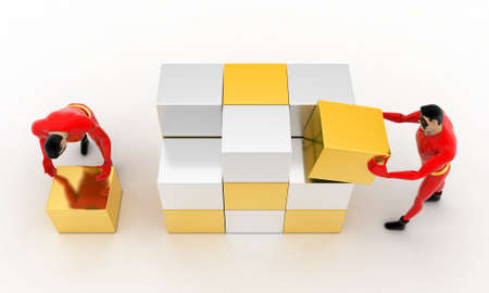 big and small: 3d superhero  making big cube from small silver and golden cubes concept on white background,  top angle view