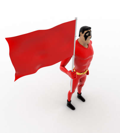 top angle view: 3d superhero  with red flag concept on white background, top angle view