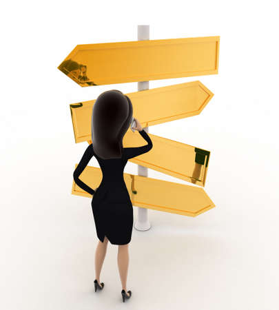 looking at view: 3d  woman looking at road sign board to find direction concept on white background, front angle view Stock Photo