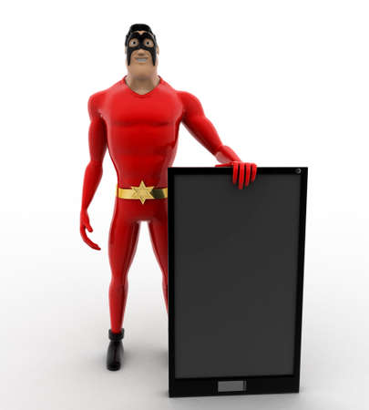 three dimensions: 3d superhero  with smartphone concept on white background, front angle view