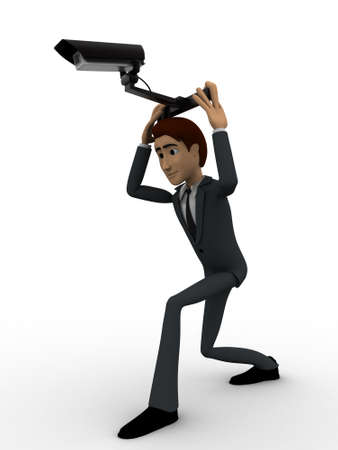 cctv security: 3d man holding cctv security camera on head concept on white background, side angle view
