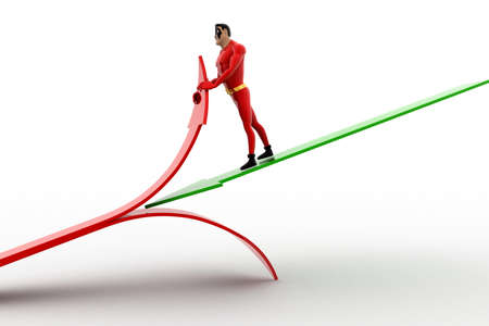 three dimensions: 3d superhero  cut red arrow using green arrow concept on white background, front angle view