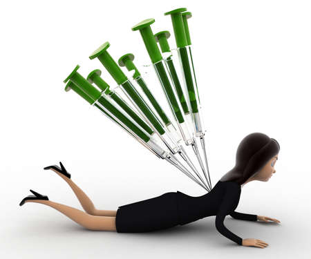 under view: 3d woman under many injection concept on white background,  side angle view Stock Photo