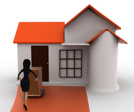handtruck: 3d woman drive handtruck with box into house concept on white background, front angle view Stock Photo