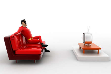 watching tv: 3d superhero  watching tv concept on white background,  side  angle view