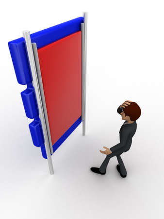 looking at view: 3d man looking at big board concept on white background,  top  angle view