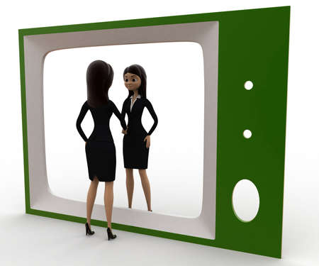 looking at view: 3d woman looking herself on tv concept on white background, left side angle view Stock Photo