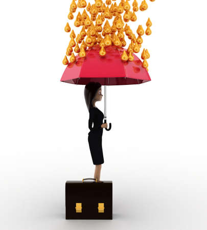 under view: 3d woman holding pink umbrella under rain of gold coin concept on white background, side angle view
