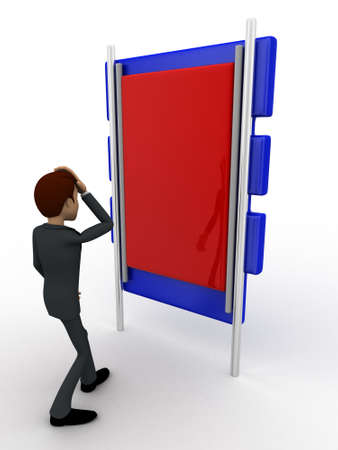 looking at view: 3d man looking at big board concept on white background, side angle view