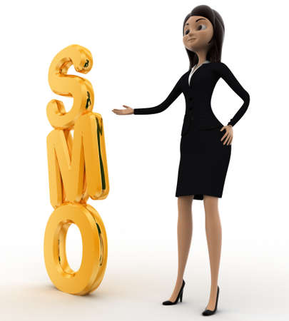smo: 3d woman with SMO text concept on white background,  side angle view Stock Photo