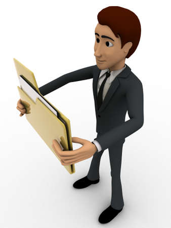 top angle view: 3d man holding big folder in hand concept on white background, top angle view