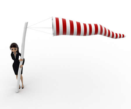 balloon woman: 3d woman holding wind directional balloon concept on white background, top angle view