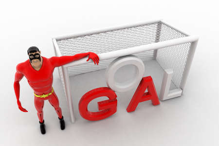 beside: 3d superhero  standing beside goal net concept on white background, top angle view Stock Photo