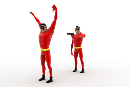to rob: 3d superhero  pointing gun at another superhero  to rob concept on white background , side angle view