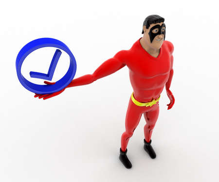 three dimensions: 3d superhero  holding blue correct symbol concept on white background, top angle view