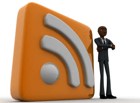 rss feed: 3d man standing beside rss feed concept on white background,  low  angle view
