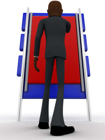looking at view: 3d man looking at big board concept on white background,  low angle view