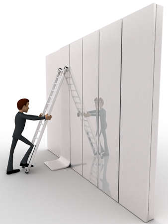 ladder: 3d man climb ladder on wall concept on white background,  side angle view