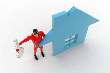 three dimensions: 3d superhero  with home icon and key concept on white background, top angle view Stock Photo