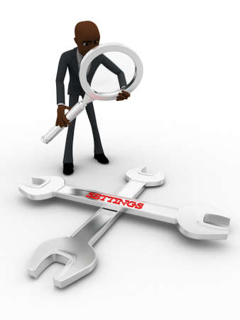 executive search: 3d man searching for solution concept on white background, front angle view