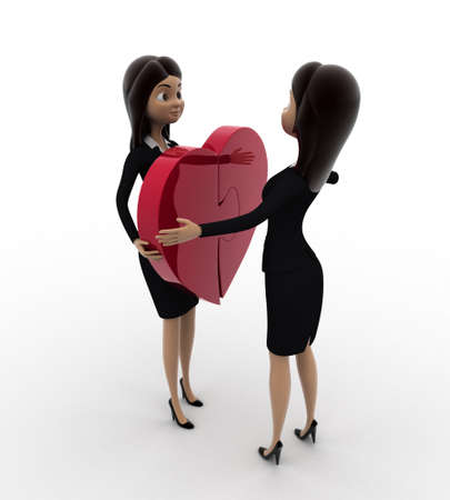 puzzle heart: 3d woman giving puzzle heart to another woman concept on white background, front angle view Stock Photo