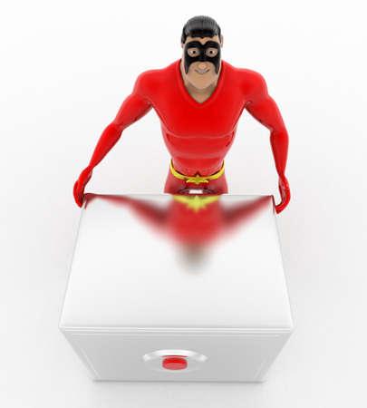 advances: 3d superhero  with advances digital locker concept on white background, top angle view