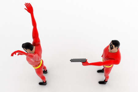 rob: 3d superhero  pointing gun at another superhero  to rob concept on white background, top angle view Stock Photo