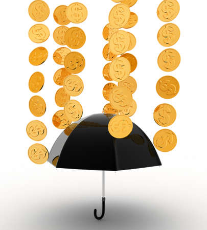 under view: 3d umbrella under rain concept on white background, front angle view