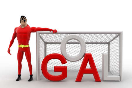 goal net: 3d superhero  standing beside goal net concept on white background, front angle view