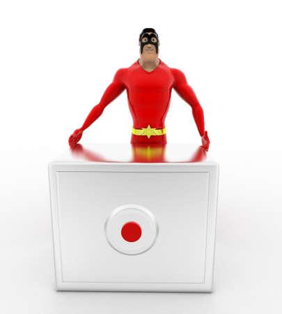 advances: 3d superhero  with advances digital locker concept on white background, front angle view