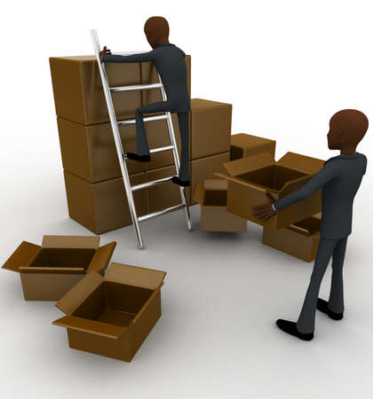 finding: 3d man finding in boxes concept on white background, side angle view Stock Photo