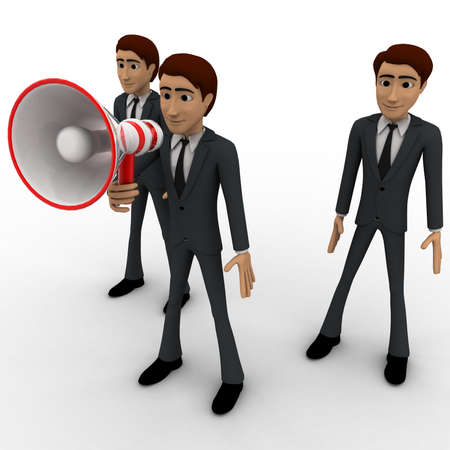 loudly: 3d man speak loudly in speaker concept on white background,   side angle view