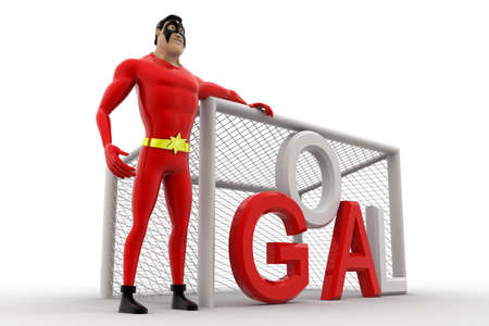 beside: 3d superhero  standing beside goal net concept on white background, side angle view