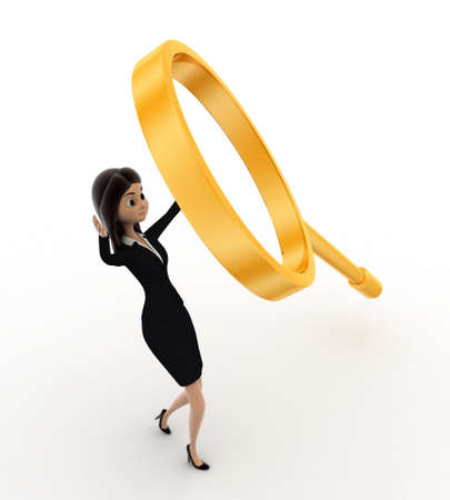 under view: 3d woman under falling magnifying glass concept on white background, front angle view Stock Photo