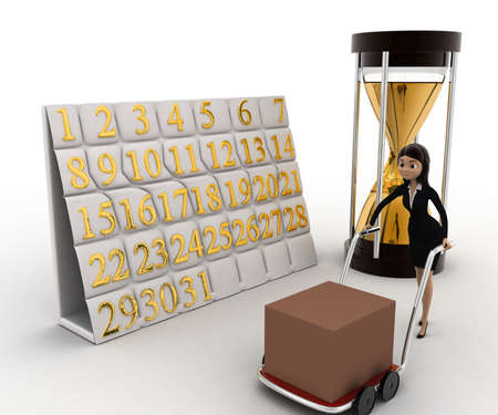 handtruck: 3d woman drive handtruck with calender and sand clock concept on white background, side angle view
