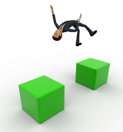 gaps: 3d man jumping gap concept on white background, top angle view Stock Photo