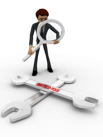 man searching: 3d man searching for solution concept on white background, front angle view