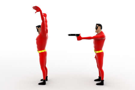 rob: 3d superhero  pointing gun at another superhero  to rob concept on white background, front angle view Stock Photo