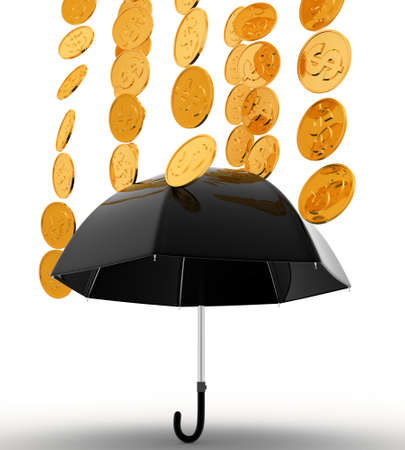 under view: 3d umbrella under rain concept on white background, low  angle view Stock Photo