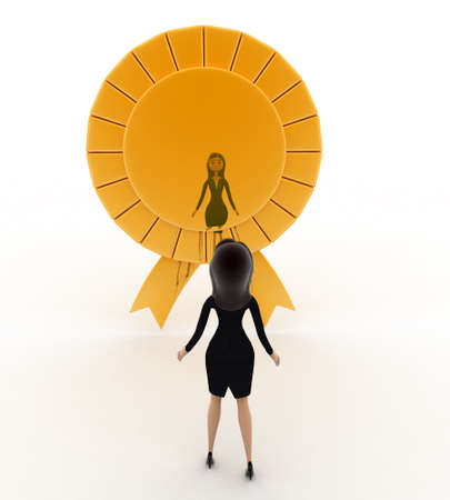 looking at view: 3d woman looking at golden ribbon concept on white background, front angle view