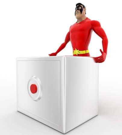 advances: 3d superhero  with advances digital locker concept on white background, side angle view