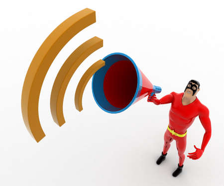 announce: 3d superhero  announce in speaker concept on white background, top angle view