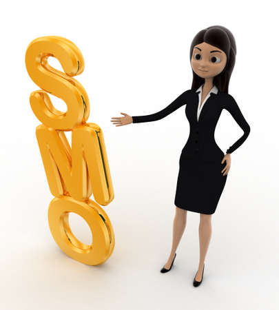 smo: 3d woman with SMO text concept on white background, top angle view