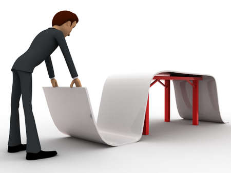 paper folding: 3d man folding big paper concept on white background,  side angle view
