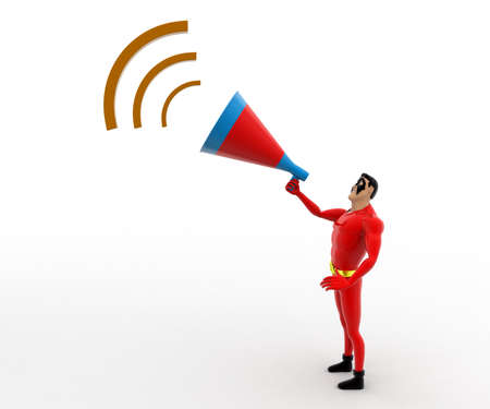 to announce: 3d superhero  announce in speaker concept on white background, front angle view Stock Photo