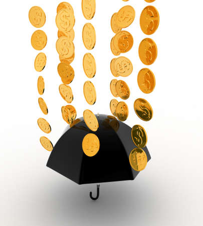 under view: 3d umbrella under rain concept on white background, top angle view