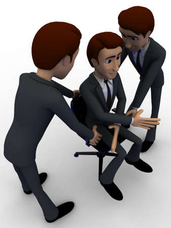 another: 3d two men help another man for sit concept on white background, side angle view